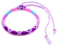 Bracelet Brésilien Amitié Macramé Coton Vœu porte Bonheur bleu violet