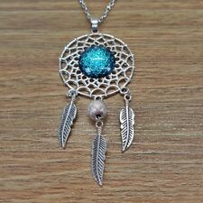 Silver Geometry Glass Dome Dream Catcher Pendant Boho Mandala Sweater Necklace