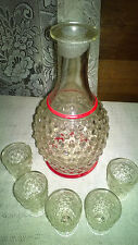 Vintage Clear Glass Hobnail Whiskey Decanter with 5 Shot Glasses