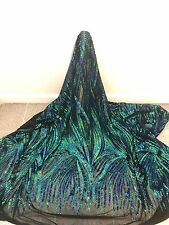 "BLACK 2WAY STRETCH MESH W/GREEN BLUE  SEQUINS EMBROIDERY FABRIC 52"" WIDE 1 YARD"