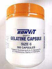 BONVIT Gelatine Caps Size ' 0 ' Empty Gel 600 Capsules ( 2 x 300 caps )