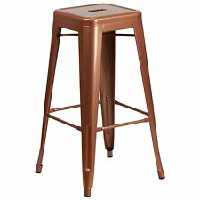 """Tolix Style Industrial Metal 30"""" Stacking Backless Restaurant Bar Stool Copper"""