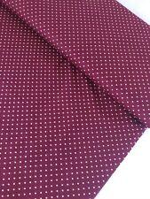 "1 Meter Plum 3mm Polka Dot Print 100% Pure Cotton Fabric 45""Wid Dress Craft"