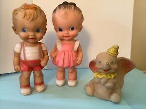 "2 Vintage Sun Rubber/Ruth Newton Dolls~Boy & Girl 8"" & Dell Disney Dumbo"