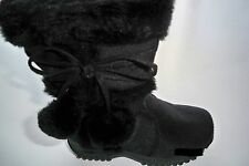 Team Honey-10 Girl Faux Wedge Mid Calf Black Leather Winter Boots Toddler Size 3