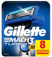 Gillette Mach 3 Turbo 3D Razors For Men 8 Razor Blades Refills, NEW GENUINE