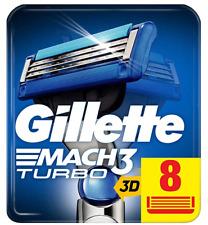 Gillette Mach 3 Turbo 3D Razors For Men 8 Razor Blades Refills, NEW GENUINE