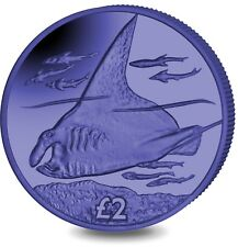 2018 British Indian Ocean Territory Blue Manta Ray Titanium Coin w/box COA