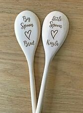 Personalised Wooden Spoons Anniversary Couple Big Spoon Little Spoon Gift Set