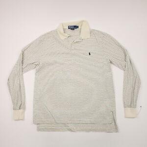 Polo Ralph Lauren Adult Medium Ivory & Black Striped Long Sleeve Casual Men's