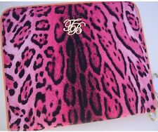 "Ted Baker Pink And Yellow Canvas Leopard Pattern 10x9""Tablet IPad Case NWOT"