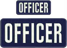 OFFICER EMBROIDERY PATCH 4X10 AND2X5 HOOK ON BACK NAVY/white