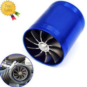 New Double Turbine Turbo Air Intake Gas Fuel Saver Fan Supercharger STOCKING