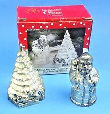 New in Box Vintage, Silver  Santa Claus and christmas tree salt and pepper set