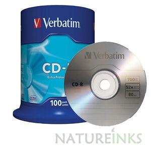100 Genuine Verbatim Extra Protection 43411 CD-R 52x 700MB 80m Blank CD Discs