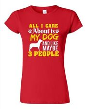 Junior All I Care Is About My Dog And Maybe 3 People Pet Funny DT T-Shirt Tee