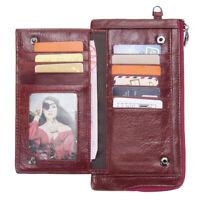 RFID Women/Men Genuine Leather Long Utra Thin Wallet Clutch Money Card Holder