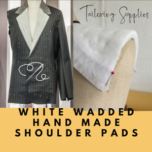 WHITE WADDED SHOULDER PADS - JACKETS - TAILORING SUPPLIES - HAND MADE -