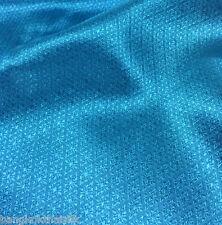 "TURQUOISE BLUE FAUX SILK DAMASK FABRIC 48""W WEDDING DRESS DRAPE SKIRT TABLECLOTH"