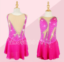 New Girls Women Ice Figure Skating Dress  For Competition Pink training handmade