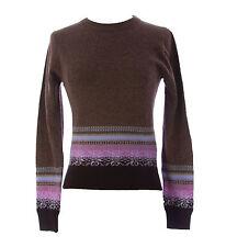 Gant Women's Dark Brown Wool Crewneck Sweater 463420 X-Small $175 NEW