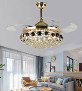 "42"" Luxury Gold LED Chandeliers Remote Retractable Ceiling Fans Crystal Lights"