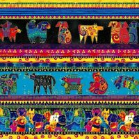 Laurel Burch Dogs & Doggies Stripe Fabric Y1796-56M Multi Bright Metallic BTY