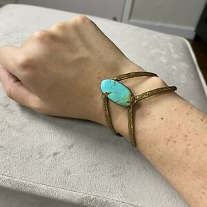 Vintage Native American Indian Navajo Brass Turquoise Cuff Bracelet Signed DCG