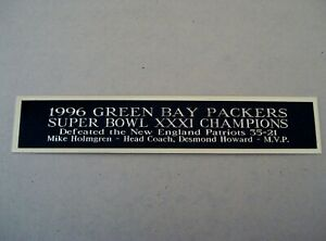 Green Bay Packers Super Bowl XXXI Football Display Case Nameplate 1.5 X 8