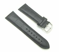 26mm Black Crocodile Grain Padded Leather Watch Band with Spring Bars