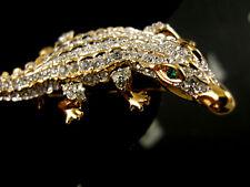 Signed Swarovski Alligator Pin /Brooch 22Kt Gold Plating Retired Rare New