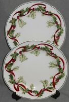 Set (2) Charter Club WINTER GARLAND PATTERN Luncheon Plates HOLIDAY - CHRISTMAS