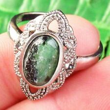 Wrap Tibetan Silver Ruby in Fuchsite Oval Pendant Bead Ring D89815