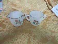 Vintage Fire King Fireking Anniversary Roses Creamer & sugar bowl milk glass set