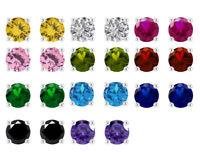 0.25 Carat Round Cut Diamond & Gemstone Screw Back Stud Earrings 14K White Gold