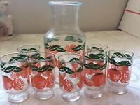 Vintage Hanchor Hocking Set 8 Pieces Orange Juice Carafe With 7 Small Drinking G