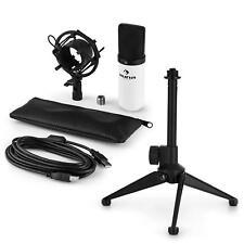 auna USB Kondensator Studio Mikrofon Set Spinne Tischstativ Tasche weiss