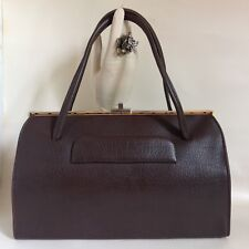 Well Loved Vintage 1950s Brown Textured Faux Leather Handbag Brown Satin Lining