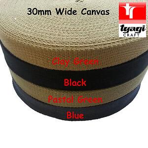 Canvas 100% Cotton 30mm Wide Bag Strap Belt Webbing Thick Fabric Handle Rucksack