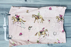 The Company Store Kids Equestrian Horse Riding English Pink Standard Pillowcase