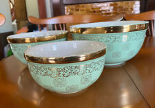 Hall's Kitchenware Gold Label Medallion Green Mixing Bowl Set of 3