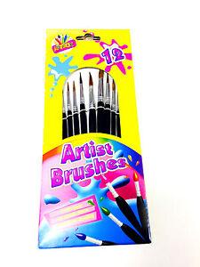 12 PCS PREMIUM QUALITY ARTIST BRUSHES KIDS ART CRAFT ARTIST PAINTING BRUSH SET