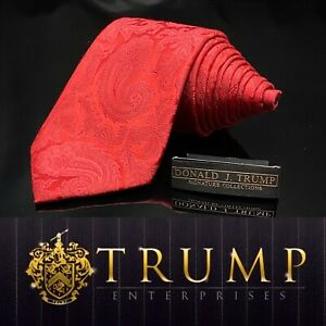 DONALD J. TRUMP~ SIGNATURE COLLECTION Solid Red Paisley NECKTIE POWER TIE
