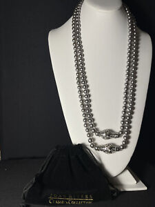 Joan Rivers Faux Grey Pearl Necklace with Easy Magnetic Clasp Set Of 2