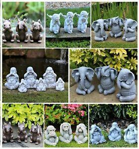 Garden Ornament See, Speak, Hear No Evil Buddha Monkey Squirrel Elephant
