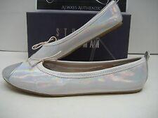 Stuart Weitzman Chippy Big Girls Youth US 5 Silver White Flats Ballets Shoes BOX