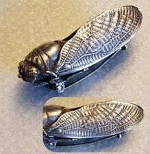 ART NOUVEAU Carved silver Cicada Insect Brooch symbol of longevity antique 1890