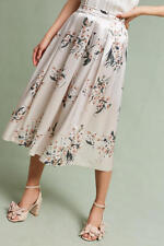 NWT Sz L Anthropologie Champagne Garden Skirt Floral Flowers Size Large 12 14