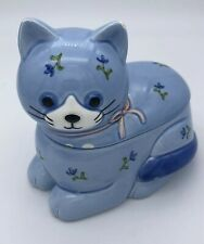 "Rare Vintage 1984 Otagiri Japan ""Blue Calico"" Cat Condiment/Jam Sugar"