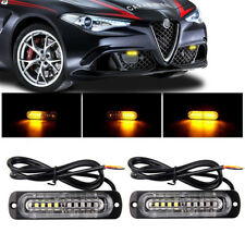 2x Amber Led Car Truck Grille Warning Lamp Strobe Emergency Light 16 Flash Modes